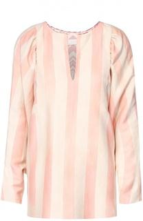 Льняная блуза в полоску с V-образным вырезом и широким рукавом Chloé