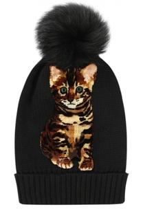Кашемировая шапка с аппликацией и помпоном Dolce & Gabbana