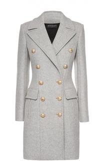 Двубортное пальто с широкими лацканами и контрастными пуговицами Balmain