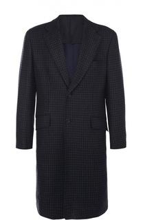 Шерстяное однобортное пальто в клетку Brioni