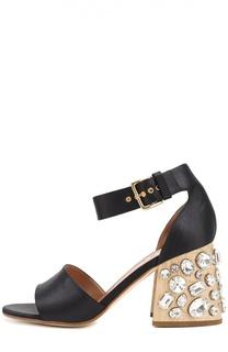 Атласные босоножки на каблуке с кристаллами Marni