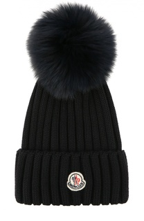 Шерстяная шапка с меховым помпоном Moncler