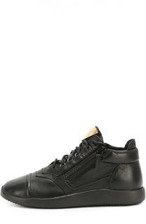Кожаные кроссовки Runner на шнуровке с молниями Giuseppe Zanotti Design