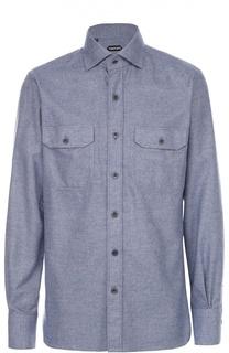 Хлопковая рубашка с воротником кент Tom Ford