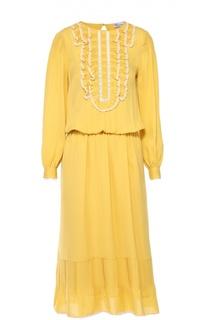 Шелковое приталенное платье с оборками и кружевной отделкой REDVALENTINO
