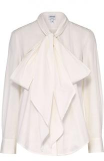 Хлопковая блуза с воротником аскот Armani Collezioni