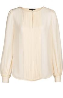 Шелковая блуза с планкой и круглым вырезом St. John