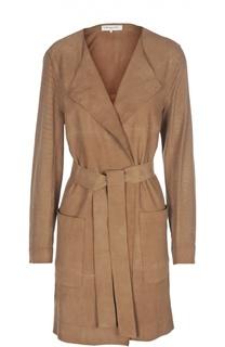 Замшевое пальто с поясом и накладными карманами Gerard Darel