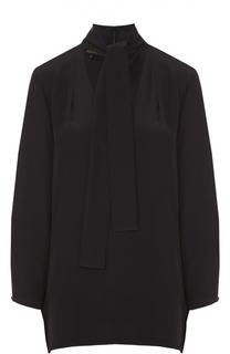 Шелковая блуза прямого кроя с воротником аскот Escada