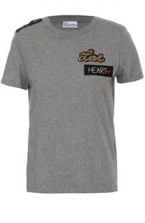 Хлопковая футболка с контрастными нашивками REDVALENTINO