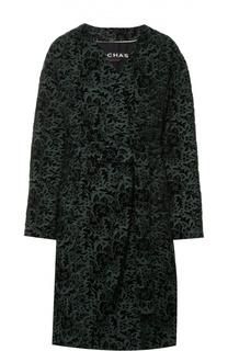 Пальто-кимоно с поясом и кружевной отделкой Rochas