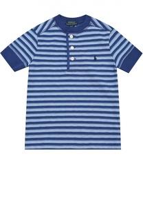 Хлопковая футболка хенли в полоску Polo Ralph Lauren