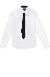 Хлопковая рубашка с декоративным галстуком Giorgio Armani