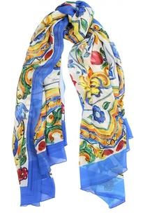 Шелковый шарф с принтом Maiolica Dolce & Gabbana