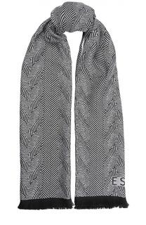 Шерстяной шарф с бахромой Escada