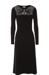 Приталенное платье-миди с кружевной вставкой REDVALENTINO