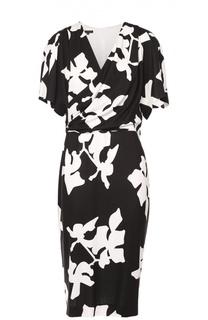 Приталенное платье с V-образным вырезом и контрастным принтом Escada