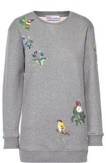 Удлиненный пуловер с контрастной вышивкой REDVALENTINO
