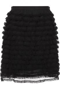 Мини-юбка с оборками и декоративной отделкой REDVALENTINO