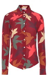 Шелковая блуза прямого кроя с контрастным принтом REDVALENTINO
