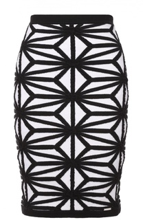 Шерстяная юбка-карандаш с геометрическим принтом Dsquared2