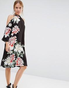 Платье до колен с цветочным принтом и открытыми плечами Liquorish - Черный
