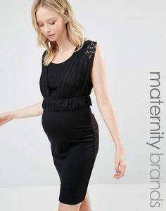 Платье-футляр для беременных с баской Mamalicious Nursing - Черный Mama.Licious