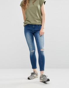 Укороченные облегающие джинсы с дырками на коленях Waven Freya - Синий