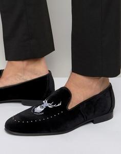 Лоферы с вышивкой Walk London Mayfair - Черный