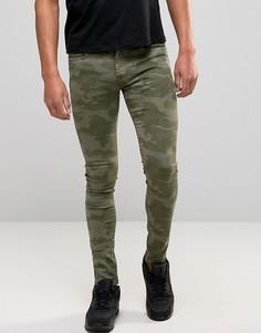 Зеленые джинсы слим с камуфляжным принтом Brooklyn Supply Co - Зеленый