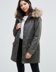 JDY Mandy Faux Fur Trim Parka - Зеленый