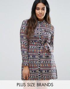 Платье-рубашка в полоску с цветочным принтом Koko Plus - Синий