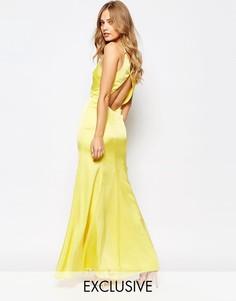 Платье макси с годе и вырезом капелькой сзади Fame and Partners Nevada - Желтый