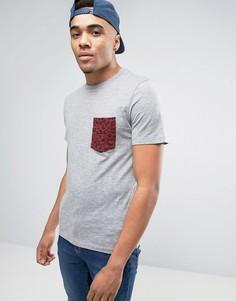 Серая футболка с леопардовым принтом на логотипе Jack and Jones - Серый