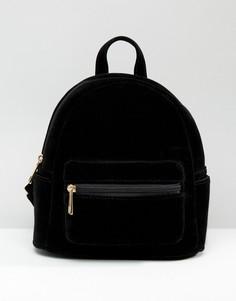 Небольшой бархатный рюкзак Daisy Street - Черный