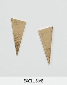 DesignB London Minimal Triangle Stud Earrings - Золотой