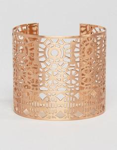 Массивный браслет-манжет с вырезом Pilgrim - Золотой