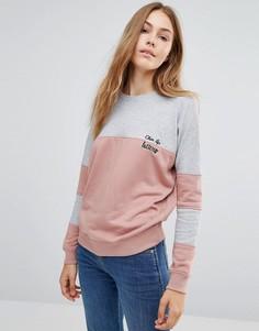 Свитшот в стиле колор блок с вышивкой Daisy Street - Розовый