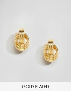 Позолоченные серьги-гвоздики с узелками Nylon - Золотой