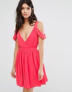 Платье мини с открытыми плечами Oh My Love - Розовый