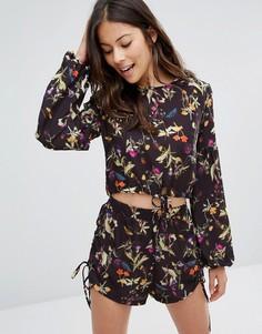 Укороченная блузка с завязкой спереди и рукавами‑колокол Oh My Love - Мульти
