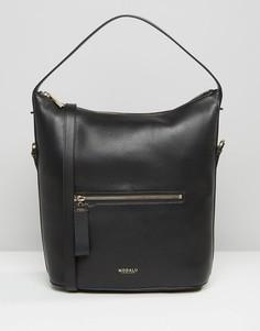 Кожаная сумка на плечо с текстурой кожи ящерицы Modalu - Черный