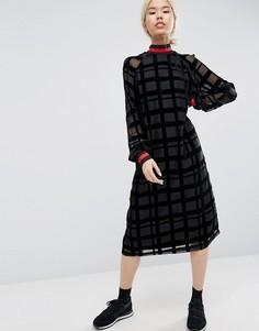 Платье миди из органзы с выжженным узором в клетку и отделкой в рубчик ASOS WHITE - Черный