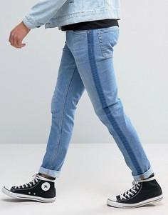 Выбеленные синие супероблегающие джинсы с полосками в стиле смокинга ASOS - Синий