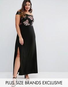 Платье макси со спущенными плечами и отделкой пайетками Truly You - Черный