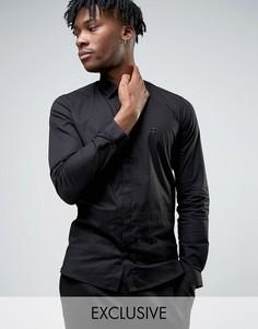 Строгая узкая рубашка с заостренным воротником и карманами Hart Hollywood - Черный