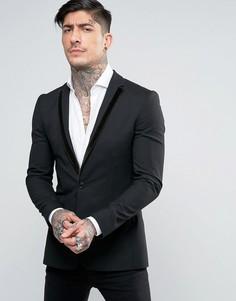 Бархатный пиджак супероблегающего кроя с окантовкой на лацканах Religion - Черный