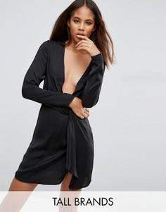 Платье с запахом и глубоким декольте Missguided Tall - Черный