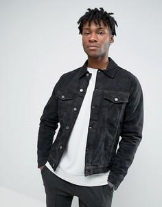 Джинсовая куртка с камуфляжным принтом Hoxton Denim - Черный