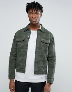 Джинсовая куртка с камуфляжным принтом Hoxton Denim - Зеленый